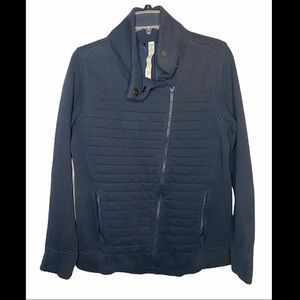 Lululemon- Navy Diagonal Zip Quilted Moto Jacket